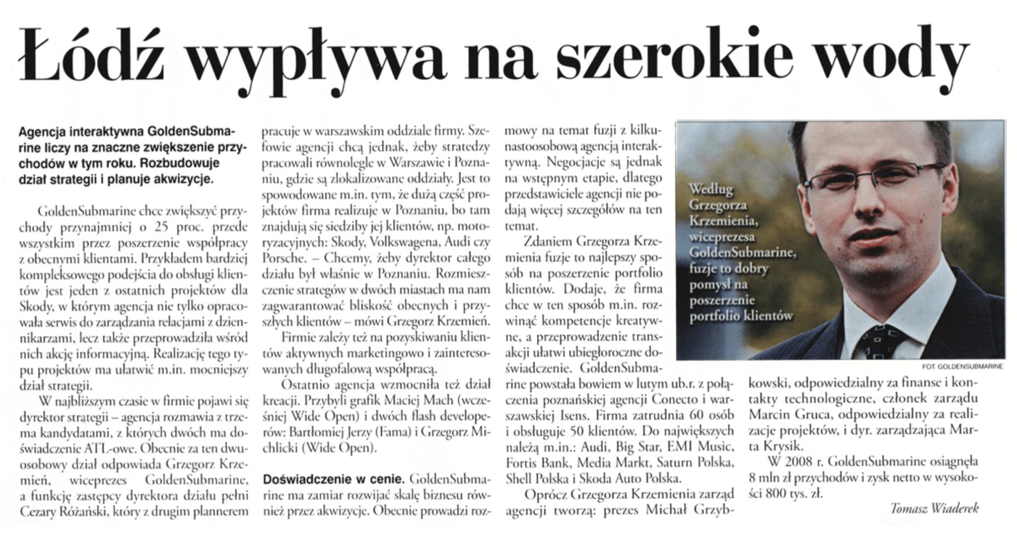 Grzegorz Krzemień. GoldenSubmarine wypływa na szerokie wody.