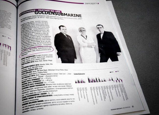 Marcin Gruca, Marta Krysik, Grzegorz Krzemień, zarząd GoldenSubmarine